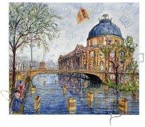 Thitz: Berlin Utopie, 2021, Acryl und Tüten auf Leinwand, 140 x 160 cm