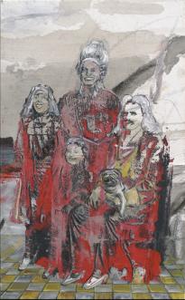 Undine Bandelin: Die Monarchen, 2021,Siebdruck und Mischtechnik auf Leinwand, 30 x 50 cm