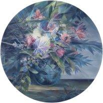 Wieland Payer: Blossom, 2021, Pastell und Aquarell auf grundiertem MDF, D 100 cm