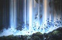 Wieland Payer: BLUE FALL, 2020, Pastell, Aquarell und Kohle auf grundiertem MDF, 190x300cm