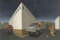 Marten Schädlich: Burger, 2020, Öl und Eitempera auf MDF, 31 x 46 cm
