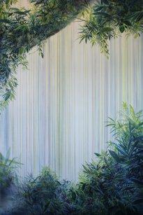 Wieland Payer: Cave, 2021, Pastell, Kohle, Aquarell und Regen, 180 x 120 cm