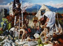 Nguyen Xuan Huy: Day Y, 2020, Öl auf Leinwand, 300 x 414 cm