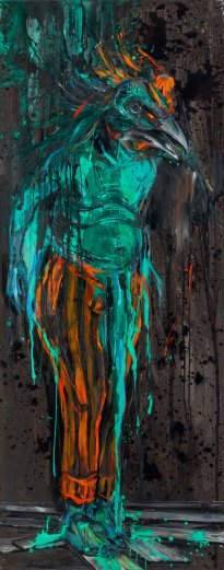 Undine Bandelin: Der Urenkel, 2017, Mischtechnik auf Leinwand, 90 x 230 cm