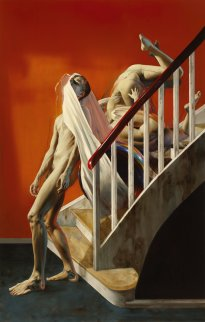 Nguyen Xuan Huy: Descending a Staircase, 2020, oil on canvas, 220 x 140 cm