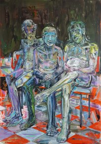 Undine Bandelin: Die Edelmänner, 2020, Mischtechnik auf Leinwand, 170 x 120 cm