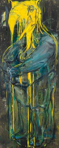 Undine Bandelin: Die Gouvernante, 2017, Mischtechnik auf Leinwand, 90 x 230 cm