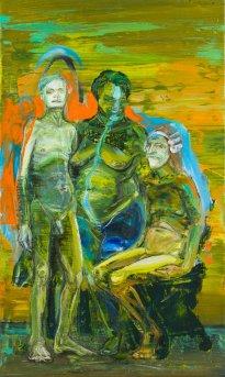 Undine Bandelin: Die Kupplerin, 2021, Siebdruck und Mischtechnik auf Leinwand, 50 x 30 cm