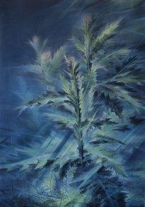 Wieland Payer: Distel, 2021, Pastell, Aquarell und Kohle auf grundiertem MDF, 100 x 70 cm