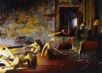 Nguyen Xuan Huy: evening event, 2020, Öl auf Leinwand, 180 x 250 cm