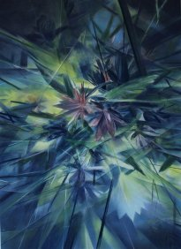 Wieland Payer: Fleurope (upside down), 2021, Pastell, und Aquarell auf grundiertem MDF, 110 x 80 cm