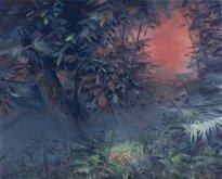 Wieland Payer: Hecke, 2021, Pastell und Aquarell auf grundiertem MDF, 120 x 150 cm