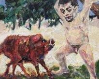 Harald Reiner Gratz: Herakles und der erymanthische Eber, 2020, Öl auf Leinwand, 40 x 50 cm