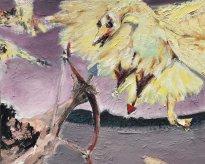 Harald Reiner Gratz: Herakles und die stymphalischen Vögel, 2020, Öl auf Leinwand, 40 x 50 cm