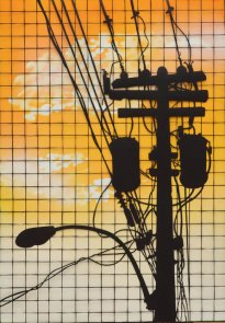 Annette Schröter: Himmel über M. 1, 2018, Papierschnitt, 100 x 70 cm