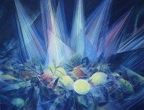 Wieland Payer: Lemon Stage, 2021, Pastell auf grundiertem MDF, 80 x 115 cm