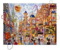 Thitz: Mumbai Utopian City, 2021, Acryl und Tüten auf Leinwand, 140 x 180 cm