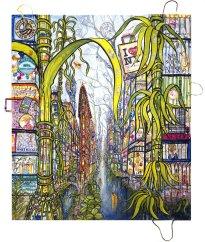 Thitz: New York Utopian City Flatiron, 2019, Acryl und Tüten auf Leinwand, 160 x 140 cm