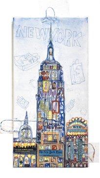 Thitz: NY Empire, 2017, Acryl und Tüten auf Leinwand, 100 x 50 cm