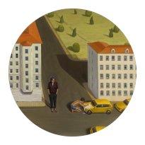 Marten Schädlich: o.T. 2, 2019, Acryl, Eitempera, Öl auf Mdf, 52 cm