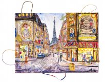 Thitz: Paris Cafe, 2019, Acryl und Tüten auf Leinwand, 50 x 70 cm