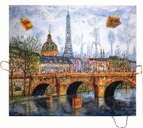 Thitz: Paris Urban Bag Art, 2019, Acryl und Tüten auf Leinwand,140 x 160 cm