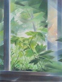 Wieland Payer: Rear Window, 2021, Pastell auf grundiertem MDF, 55 x 42 cm