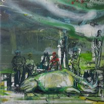 Undine Bandelin: Serengeti, 2020, screen printing and mixed media on canvas, 40 x 40 cm