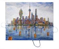 Thitz: Shanghai Utopia, 2020, Acryl und Tüten auf Leinwand, 80 x 100 cm