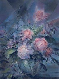 Wieland Payer: Tulip, 2021, Pastell und Aquarell auf grundiertem MDF, 80 x 60 cm