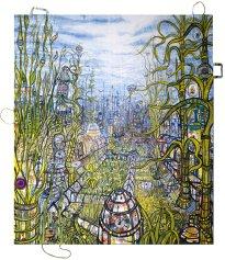 Thitz: UC Under Water London, 2020, Acryl und Tüten auf Leinwand, 160 x 140 cm