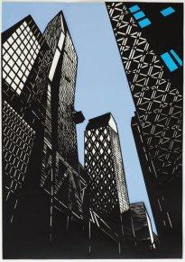 Annette Schröter: Über Architektur 2, 2019, Papierschnitt, 100 x 70 cm