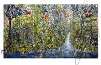 Thitz: Utopian Civilization at Amazonas, 2020, Acryl und Tüten auf Leinwand,160 x 280 cm