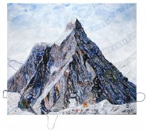Thitz: Utopian Civilization Matterhorn, 2020, Acryl und Tüten auf Leinwand, 140 x 160 cm