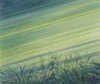 Wieland Payer: Waldstaub, 2021, Pastell und Aquarell auf grundiertem MDF, 60 x 73 cm