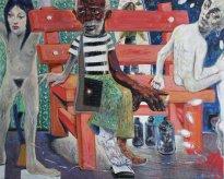 Harald Reiner Gratz: Warten auf Godot, 2020, Öl auf Leinwand, 120 x 150 cm