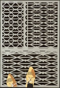 Annette Schröter: Zu deinen Füßen 5, 2019, Papierschnitt, 100 x 70 cm