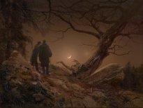 Hiroyuki Masuyama: Zwei Männer in Betrachtung des Mondes (nach Caspar David Friedrich, 1819), 2019, LED Lightbox, ed. 5 + 2 ap, 33 x 44,5 x 4 cm